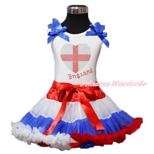 World Cup White Tank Top with Royal Blue Ruffles & Royal Blue Bow with Sparkle Crystal Bling Rhinestone England Heart Print with Red White Blue Pettiskirt MG1211