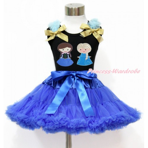Black Tank Top with Light Blue Ruffles & Sparkle Goldenrod Bow with Princess Anna & Princess Elsa Print & Royal Blue Pettiskirt MG1212