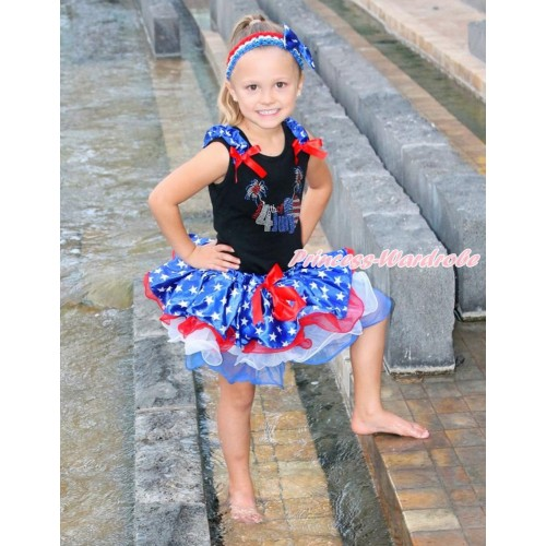 American's Birthday Black Tank Top With Patriotic American Star Ruffles & Red Bow & Sparkle Crystal Bling Rhinestone 4th July Patriotic American Heart Print With Red Bow Patriotic American Star Red White Blue Pettiskirt MG1213