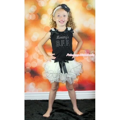 Mother's Day Black Baby Pettitop with Cream White Ruffles & Black Bow with Sparkle Crystal Bling Rhinestone Mommy's BFF Print with Black Bow Cream White Petal Newborn Pettiskirt NG1527