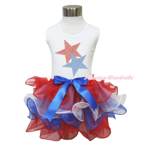 American's Birthday White Tank Top With Sparkle Crystal Bling Rhinestone Red Blue Twin Star Print With Royal Blue Bow Red White Blue Petal Pettiskirt MG1217
