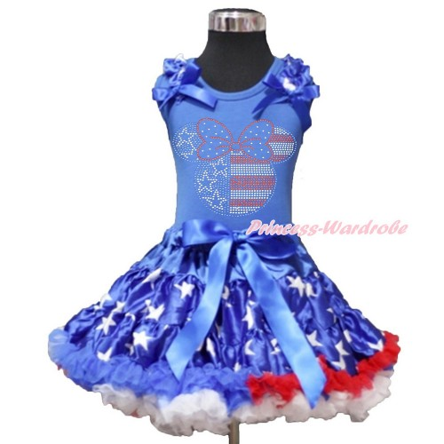 4th July Royal Blue Tank Top with Patriotic American Star Ruffles & Royal Blue Bow with Sparkle Crystal Bling Rhinestone 4th July Minnie Print & Patriotic American Star Pettiskirt MN86