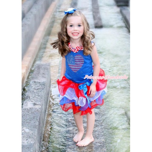 American's Birthday Royal Blue Tank Top With Red White Chevron Satin Lacing With Sparkle Crystal Bling Rhinestone USA Heart Print With Royal Blue Bow Red White Blue Petal Pettiskirt MN89