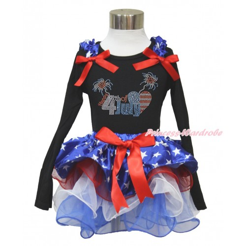 American's Birthday Black Long Sleeve Top with Patriotic American Star Ruffles & Red Bow & Sparkle Crystal Bling Rhinestone 4th July Patriotic American Heart Print with Matching Red Bow Patriotic American Star Red White Blue Petal Pettiskirt MW476