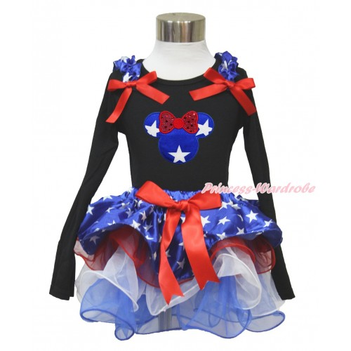American's Birthday Black Long Sleeve Top with Patriotic American Star Ruffles & Red Bow & Patriotic American Star Minnie Print with Matching Red Bow Patriotic American Star Red White Blue Petal Pettiskirt MW477