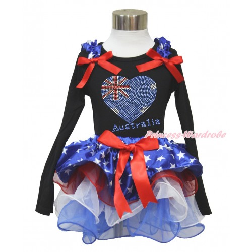 American's Birthday Black Long Sleeve Top with Patriotic American Star Ruffles & Red Bow & Sparkle Crystal Bling Rhinestone Australia Heart Print with Matching Red Bow Patriotic American Star Red White Blue Petal Pettiskirt MW478