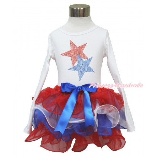 American's Birthday White Long Sleeve Top with Sparkle Crystal Bling Rhinestone Red Blue Twin Star Print with Royal Blue Bow Red White Blue Petal Pettiskirt MW481