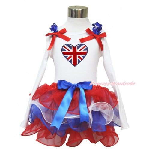 American's Birthday White Long Sleeve Top with Patriotic American Star Ruffles & Red Bow & Patriotic British Heart Print with Matching Royal Blue Bow Red White Blue Petal Pettiskirt MW485