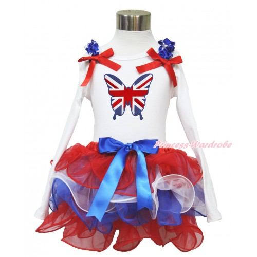 American's Birthday White Long Sleeve Top with Patriotic American Star Ruffles & Red Bow & Patriotic British Butterfly Print with Matching Royal Blue Bow Red White Blue Petal Pettiskirt MW486