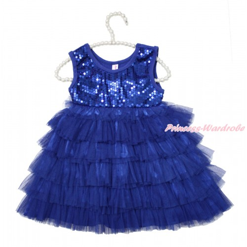 Royal Blue Sparkle Sequins Layer Dance Party Dress PD048
