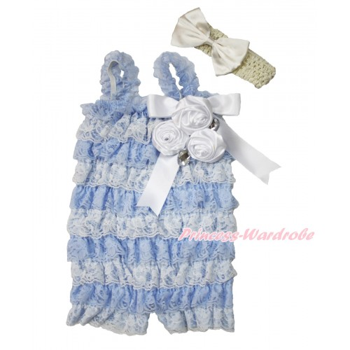 Frozen Light Blue White Lace Ruffles Rompers With Straps With White Bow & Bunch Of White Satin Rosettes & Crystal,With Cream White Headband Cream White Satin Bow RH149
