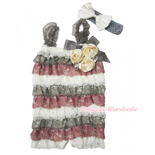 Cream White Grey Raspberry Wine Red Lace Ruffles Rompers With Straps With Grey Bow & Bunch Of Goldenrod Satin Rosettes & Crystal,With Grey Headband Cream White Satin Bow RH150