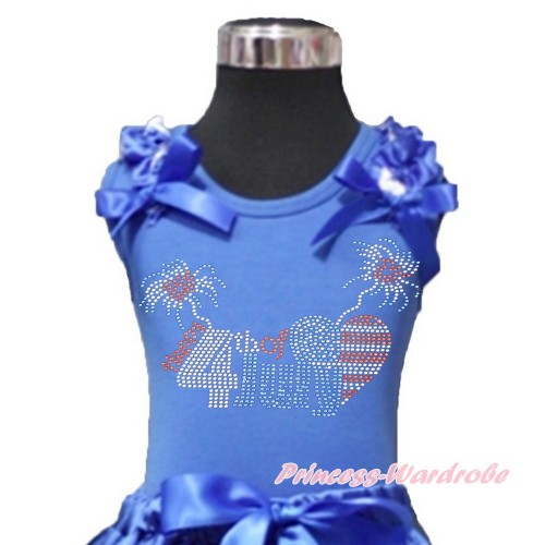 4th July Royal Blue Tank Top With Patriotic American Star Ruffles & Royal Blue Bows With Sparkle Crystal Bling Rhinestone 4th July Patriotic American Heart Print T444