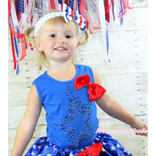 Royal Blue Tank Top with Red Silk Bow & Sparkle Crystal Glitter Star Print T445