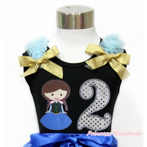 Black Tank Top With Light Blue Ruffles & Sparkle Goldenrod Bow With Princess Anna & 2nd Sparkle White Birthday Number Print TB795