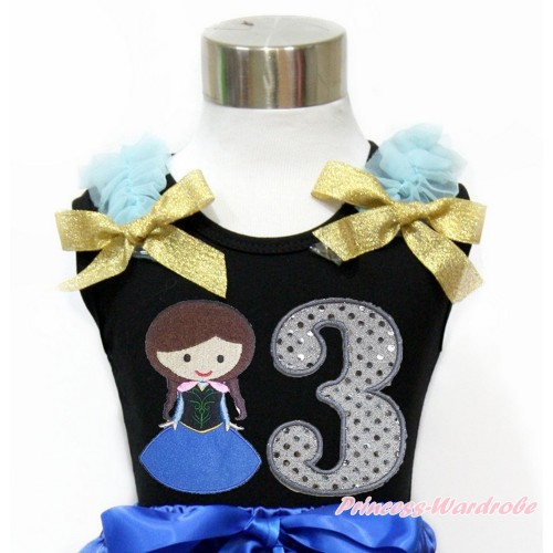 Black Tank Top With Light Blue Ruffles & Sparkle Goldenrod Bow With Princess Anna & 3rd Sparkle White Birthday Number Print TB796