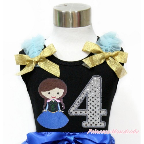 Black Tank Top With Light Blue Ruffles & Sparkle Goldenrod Bow With Princess Anna & 4th Sparkle White Birthday Number Print TB797