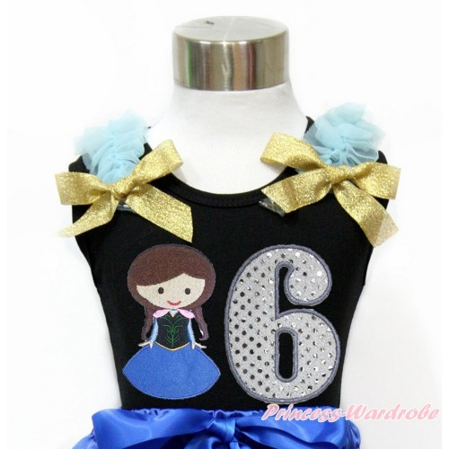 Black Tank Top With Light Blue Ruffles & Sparkle Goldenrod Bow With Princess Anna & 6th Sparkle White Birthday Number Print TB799