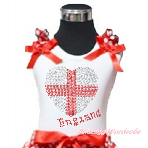 World Cup White Tank Top With Minnie Dots Ruffles & Red Bow With Sparkle Crystal Bling Rhinestone England Heart Print TB807