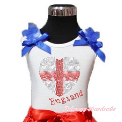 World Cup White Tank Top With Royal Blue Ruffles & Royal Blue Bow With Sparkle Crystal Bling Rhinestone England Heart Print TB808