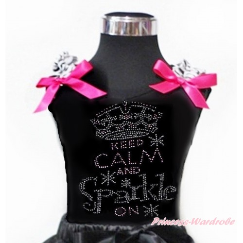 Black Tank Top With Zebra Ruffles & Hot Pink Bow With Sparkle Crystal Bling Rhinestone Keep Calm And Sparkle On Print TB809