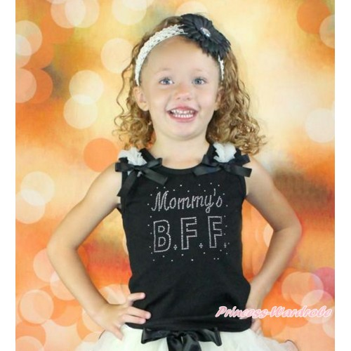 Mother's Day Black Tank Top With Cream White Ruffles & Black Bow With Sparkle Crystal Bling Rhinestone Mommy's BFF Print TB812