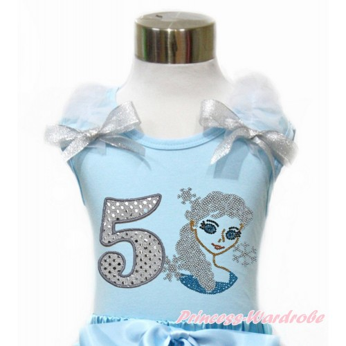 Light Blue Tank Top With White Ruffles & Sparkle Silver Grey Bow With 5th Sparkle White Birthday Number & Sparkle Crystal Bling Rhinestone Princess Elsa Print TM275