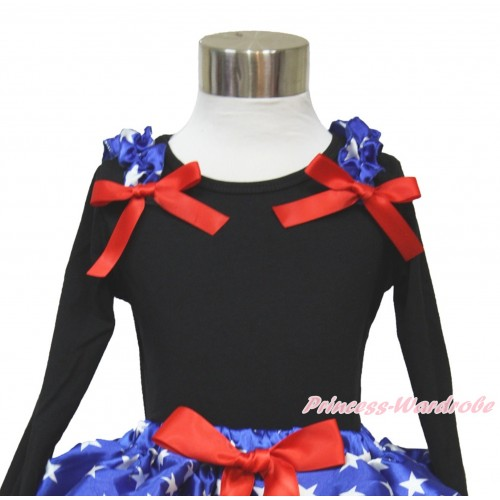 American's Birthday Black Long Sleeves Top with Patriotic American Star Ruffles & Red Bow TO357