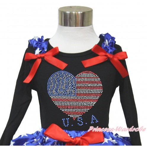 American's Birthday Black Long Sleeves Top With Patriotic American Star Ruffles & Red Bow with Sparkle Crystal Bling Rhinestone USA Heart Print TO358