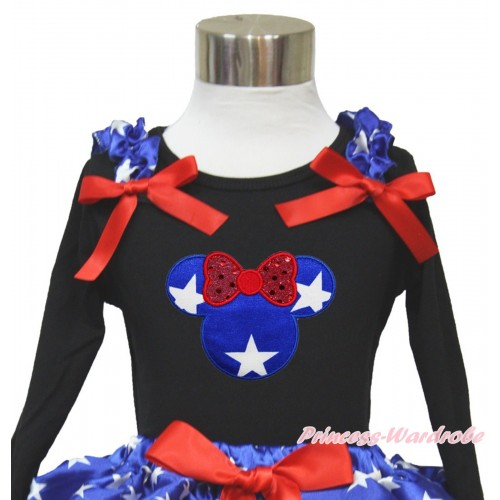 American's Birthday Black Long Sleeves Top With Patriotic American Star Ruffles & Red Bow with Patriotic American Star Minnie Print TO360