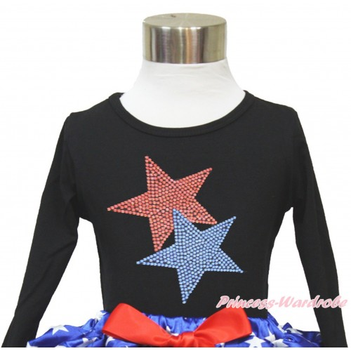 American's Birthday Black Long Sleeves Top With Sparkle Crystal Bling Rhinestone Red Blue Twin Star Print TO363