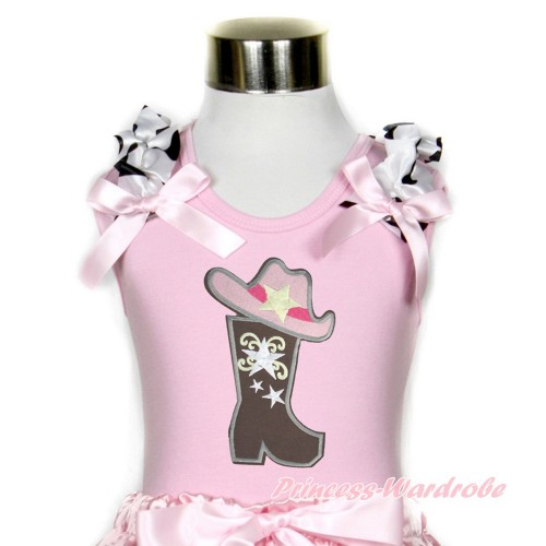 Light Pink Tank Top With Milk Cow Ruffles & Light Pink Bow With Cowgirl Hat Boot Print TP90