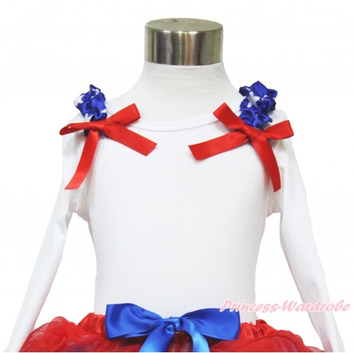 American's Birthday White Long Sleeves Top with Patriotic American Star Ruffles & Red Bow TW455
