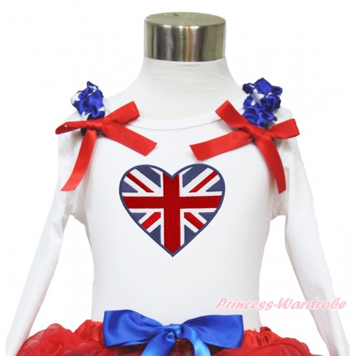 American's Birthday White Long Sleeves Top With Patriotic American Star Ruffles & Red Bow with Patriotic British Heart Print TW458
