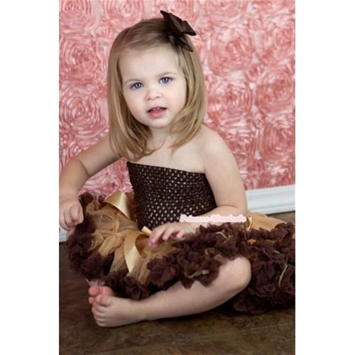Light Dark Brown Baby Pettiskirt,Brown Crochet Tube Top,Brown Silk Bow 3PC Set CT506