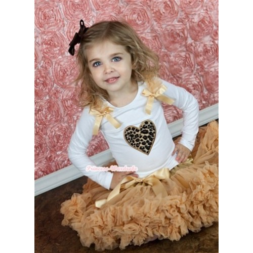 Goldenrod Pettiskirt with Leopard Heart Print White Long Sleeves Top with Goldenrod Ruffles and Goldenrod Bow MW127