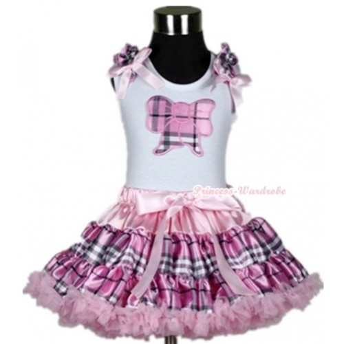 White Tank Top with Light Pink Checked Butterfly Print with Light Pink Checked Ruffles & Light Pink Bow& Light Pink Checked Pettiskirt MG357