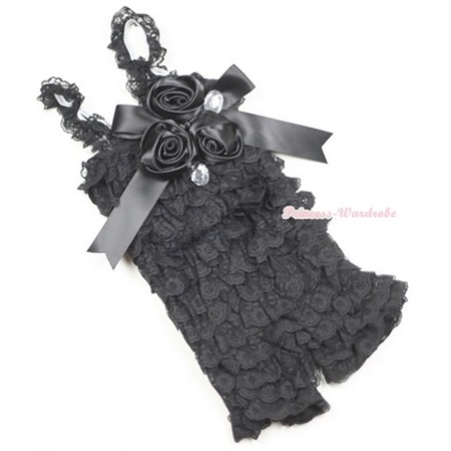 Black Lace Ruffles Petti Rompers With Straps With Big Bow & Bunch Of Satin Rosettes& Crystal LR130