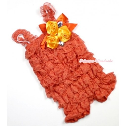 Orange Lace Ruffles Petti Rompers With Straps With Big Bow & Bunch Of Satin Rosettes& Crystal LR133