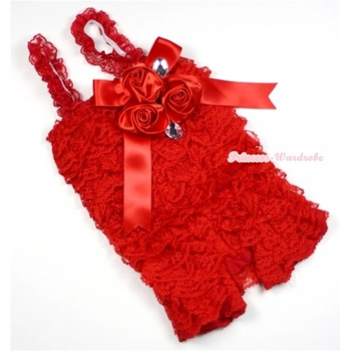 Hot Red Lace Ruffles Petti Rompers With Straps With Big Bow & Bunch Of Satin Rosettes& Crystal LR135