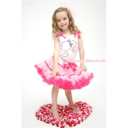 White Tank Top with Zebra Ruffles & Hot Pink Bow with Sparkle Crystal Bling Rhinestone Barbie Princess Print & Hot Light Pink Trim Pettiskirt MG992