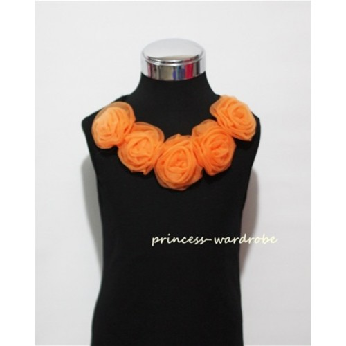 Black Tank Tops with Orange Rosettes TB08