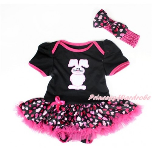 Easter Black Baby Bodysuit Jumpsuit Hot Light Pink Heart Pettiskirt With Bunny Rabbit Print With Hot Pink Headband Hot Light Pink Heart Satin Bow JS3007