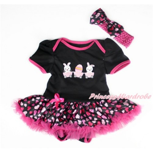 Easter Black Baby Bodysuit Jumpsuit Hot Light Pink Heart Pettiskirt With Bunny Rabbit Egg Print With Hot Pink Headband Hot Light Pink Heart Satin Bow JS3009