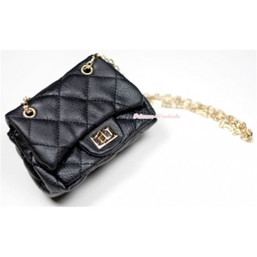 Gold Chain Black Checked Little Cute Petti Shoulder Bag CB11
