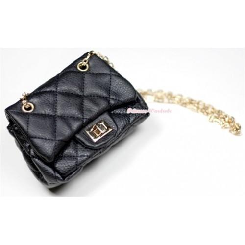 Gold Chain Black Checked Little Cute Petti Shoulder Bag CB11