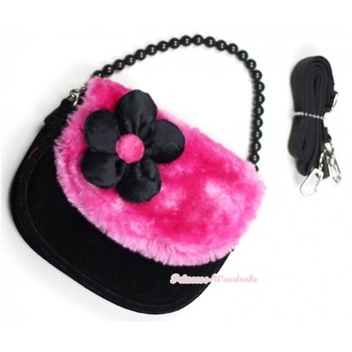 Hot Pink Black Soft Fur Little Cute Handbag Petti Bag Purse CB14