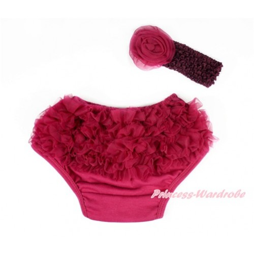 Raspberry Wine Red Ruffles Panties Bloomers & Raspberry Wine Red Headband Raspberry Wine Red Rose BA13