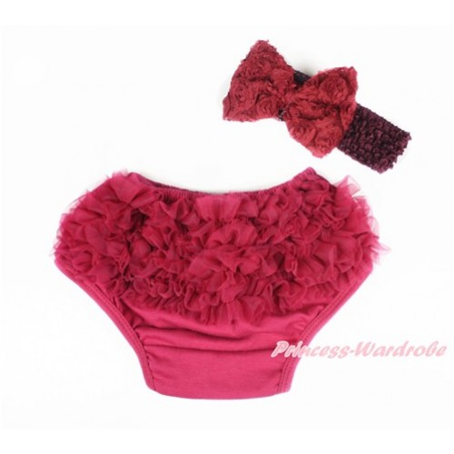 Raspberry Wine Red Ruffles Panties Bloomers & Raspberry Wine Red Headband Raspberry Wine Red Rose Bow BA14
