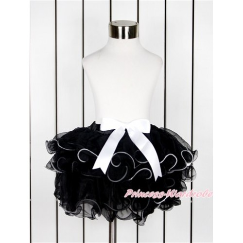 Black Flower Petal Full Pettiskirt With White Bow B242